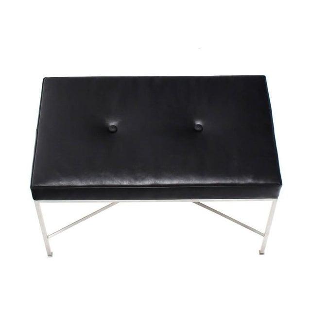 Black Leather Upholstered Rectangular X-Base Bench For Sale - Image 4 of 8