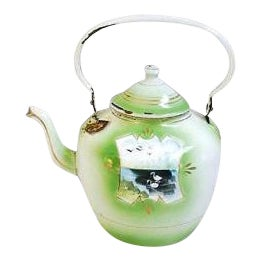 Early 1900s Hand-Painted French Country Tea Kettle Pot For Sale