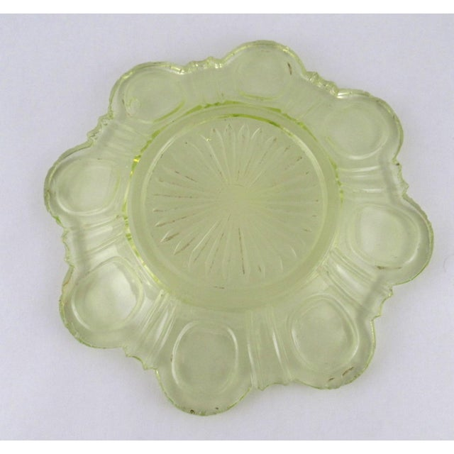Glass Antique Imperial Russian Uranium Glass Goblet and Saucer For Sale - Image 7 of 12