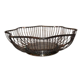 1980s Italian Silver Plated Starburst Wire Basket by Raimond For Sale