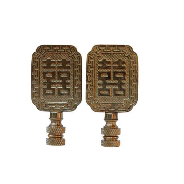 Double Happiness Symbol Solid Brass Finials - A Pair For Sale - Image 4 of 4