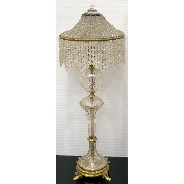 Early 20th Century Austrian Art Deco Crystal & Bronze Boudoir Lamp, With Sphinx Feet For Sale - Image 5 of 10