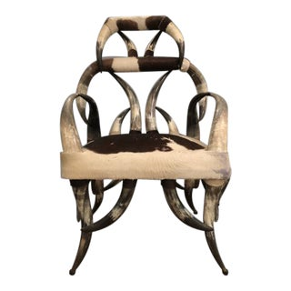 Early 21st Century Vintage Tall Cow Horn Armchair For Sale
