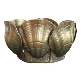 Vintage Solid Brass Seashell Planter/Cachepot For Sale