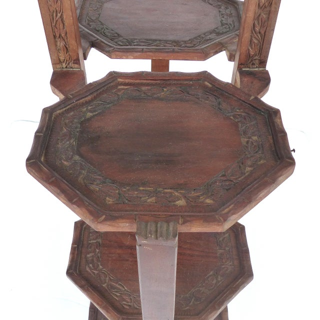 1900s Country Carved Wood Folding Serving Stand For Sale In Miami - Image 6 of 8