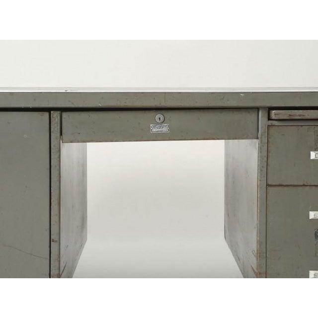 Steel American Industrial Desk in Original Condition For Sale - Image 9 of 12