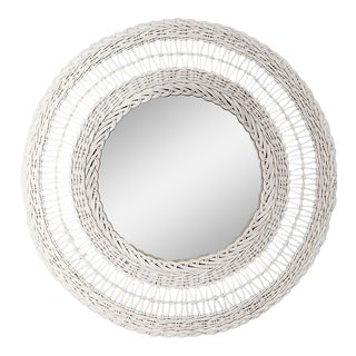 White Round Woven Wicker and Bamboo Mirror For Sale