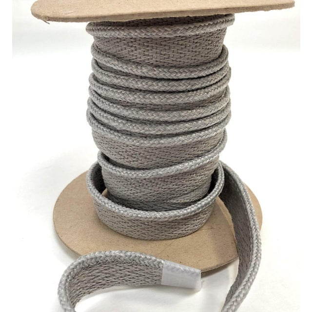 "Braided 1/8"" Indoor-Outdoor Gray Cord Trim For Sale - Image 4 of 9"