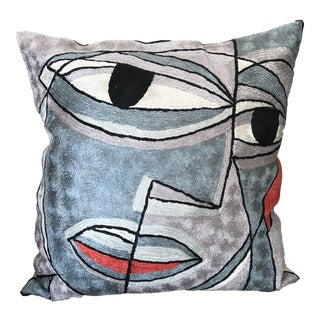 Picasso Style Handmade Silk Pillow Cover For Sale