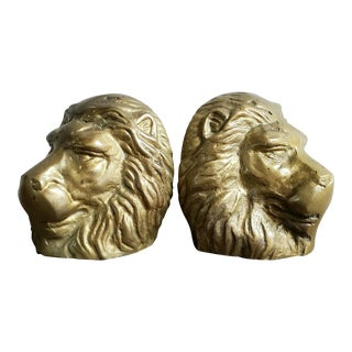 Regal Lion Brass Bookends - a Pair For Sale