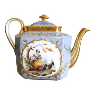 Dresden Porcelain Teapot With Figural Vignettes and Gilt Decoration