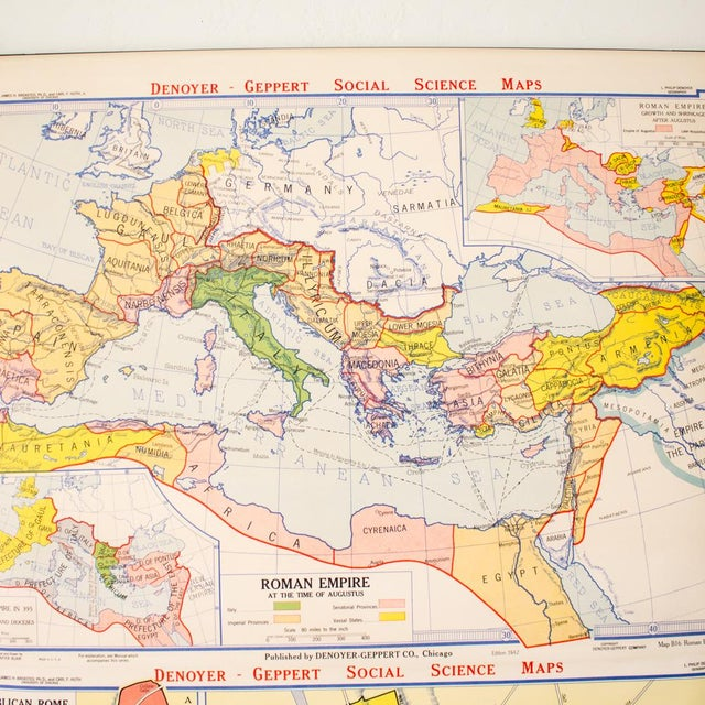 Industrial Industrial Pull Down Map of Rome Italy and the Roman Empire For Sale - Image 3 of 9
