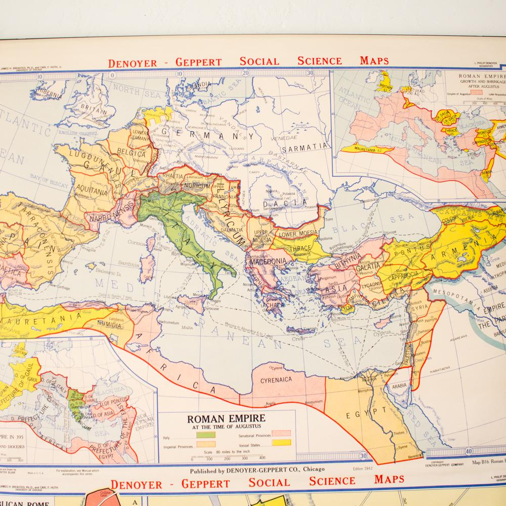 Industrial Pull Down Map Of Rome Italy Roman Empire Chairish