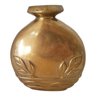 Vintage South Korean Brass Hand Crafted Vase For Sale