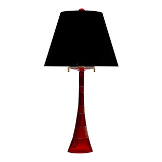 Superb John Hutton Red Murano Art Glass Modernist Table Lamp - Faro by Donghia For Sale