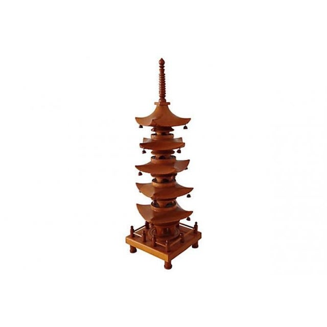 Large 1940s five-tier hand-carved pagoda sculpture of Gojunoto wood from Japan. Features tiny wooden bells, raised gallery...
