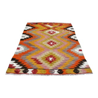 "Vintage Turkish Kilim Rug - 4'10"" X 7'1"" For Sale"