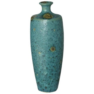 Large Italian Modern Turquoise Blue Ceramic Vase in the Style of Guido Gambone For Sale