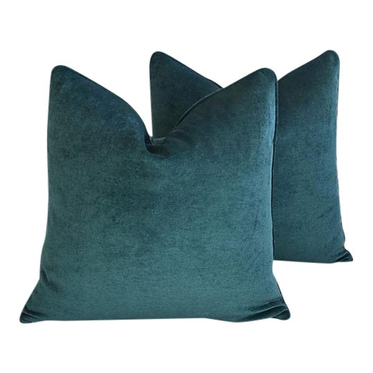 Aqua Marine Green/Turquoise Velvet Feather & Down Pillows - a Pair For Sale - Image 12 of 13
