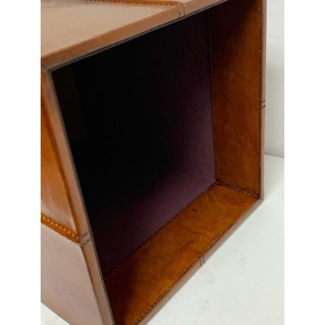 Modern French Modern Stitched Leather Cube Wastepaper Basket For Sale - Image 3 of 9