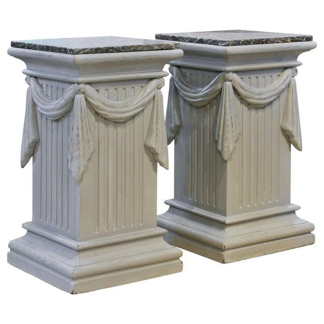 Pair of Neoclassical Carved Gray Painted Gustavian Style Marble Top Pedestals For Sale - Image 13 of 13