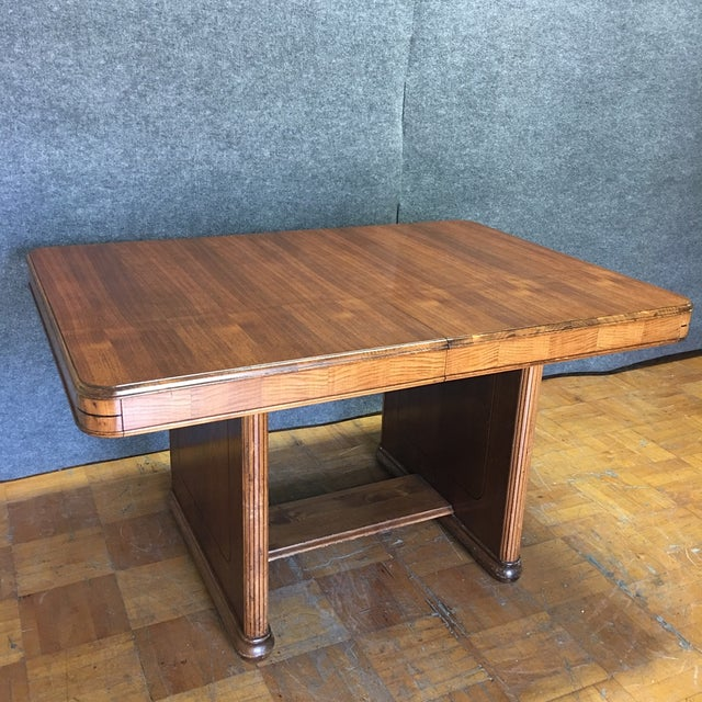 Walnut Art Deco Dining Table With Leaves - Image 2 of 9