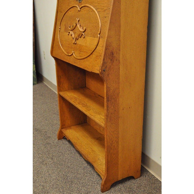 Gold Antique Victorian Golden Oak Slant Drop Front Secretary Desk Bookcase  W/ Mirror For Sale - Antique Victorian Golden Oak Slant Drop Front Secretary Desk