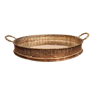 Regency Faux Bamboo Brass Tray With Woven Rail For Sale