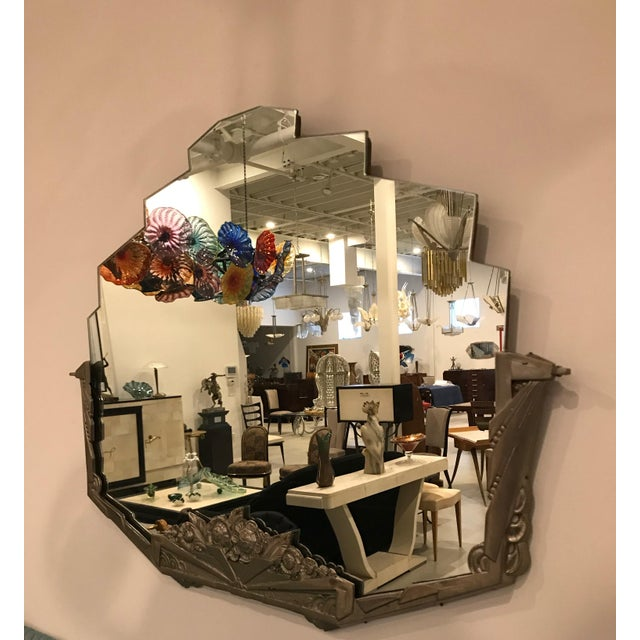 French Art Deco Geometric and Floral Wall Mirror With Skyscraper Motif For Sale - Image 9 of 10