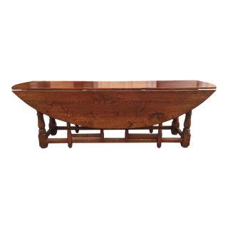 Large Oak Drop Leaf Dining Table For Sale