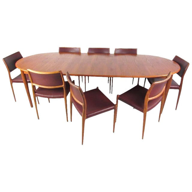 Mid-Century Modern Danish Teak Dining Table & Model 11 Moller Dining Chairs For Sale