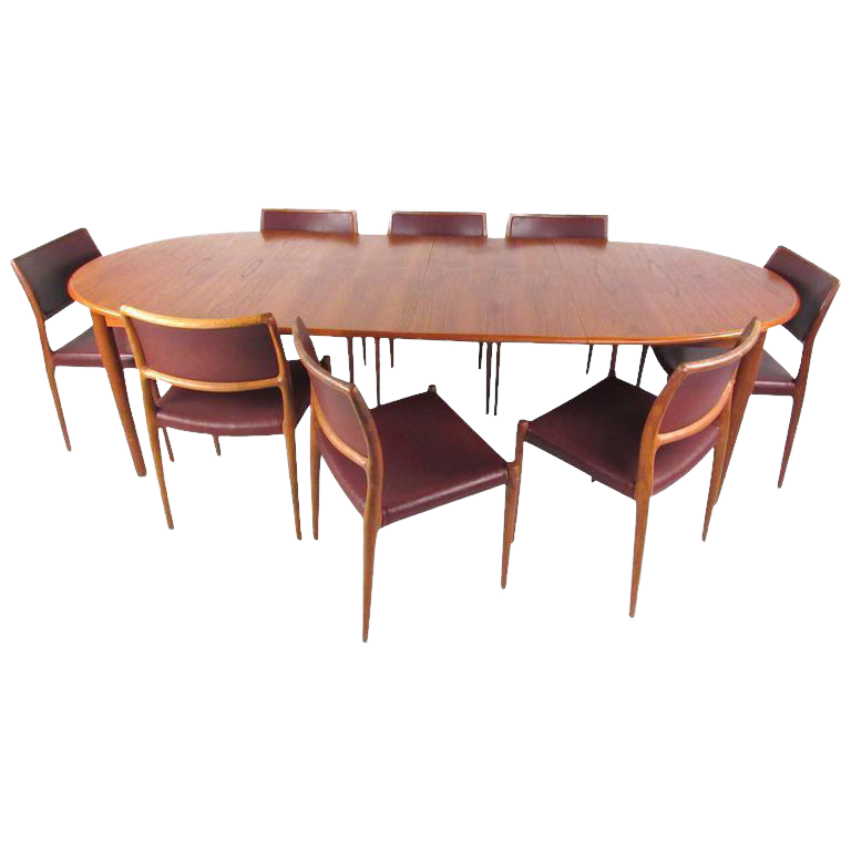 Mid Century Modern Danish Teak Dining Table U0026 Model 11 Moller Dining Chairs    Image