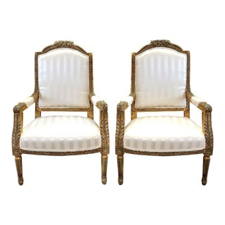 Louis XVI Style Giltwood Chairs - A Pair