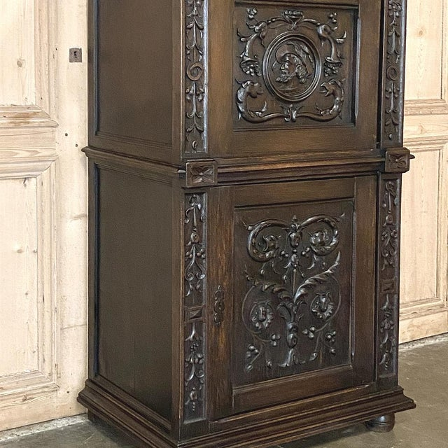 Wood Antique Renaissance Oak Drop-Front Cabinet For Sale - Image 7 of 12