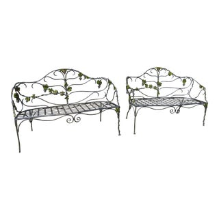 Constructed Outdoor Benches With a Grape Vine Motif - a Pair For Sale
