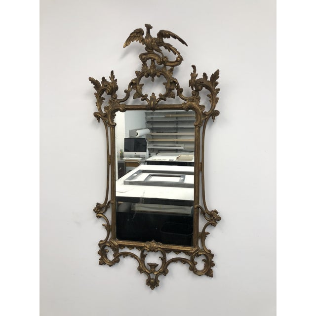 Antique English 18th Century Hand Carved Chippendale/Chinoiserie Style Wall Mirror. The glass age is unknown. The mirror...