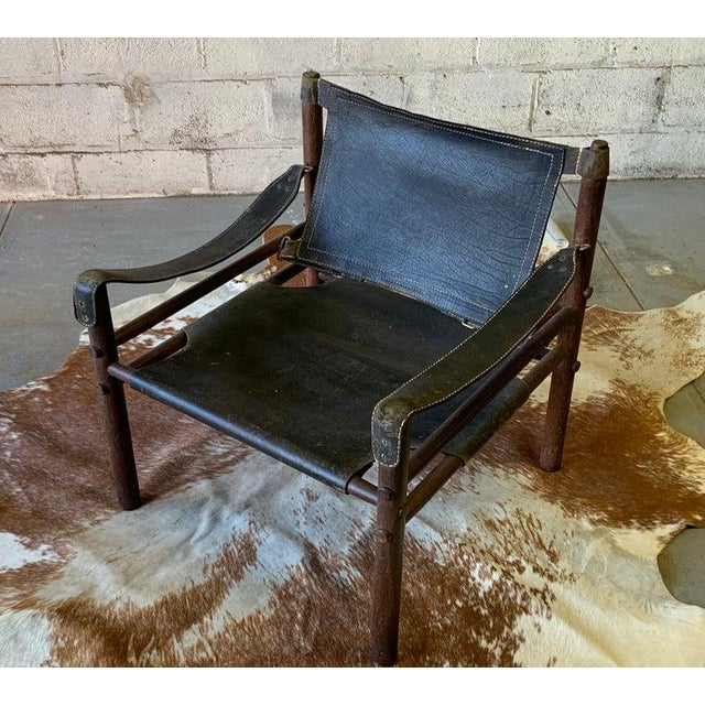 Wood Authentic + Rare Mid Century Modern Leather Safari Chair by Arne Norell, Made in Sweden For Sale - Image 7 of 11