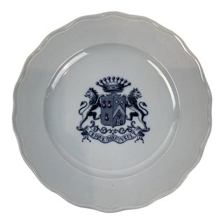 English Transferware Plate With Crest For Sale