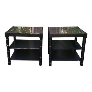 Black Modern Regency Style Faux Bamboo Nightstand End Tables - a Pair For Sale