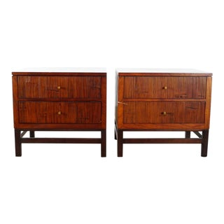 Crate & Barrel Contemporary Wood Nightstands - a Pair For Sale