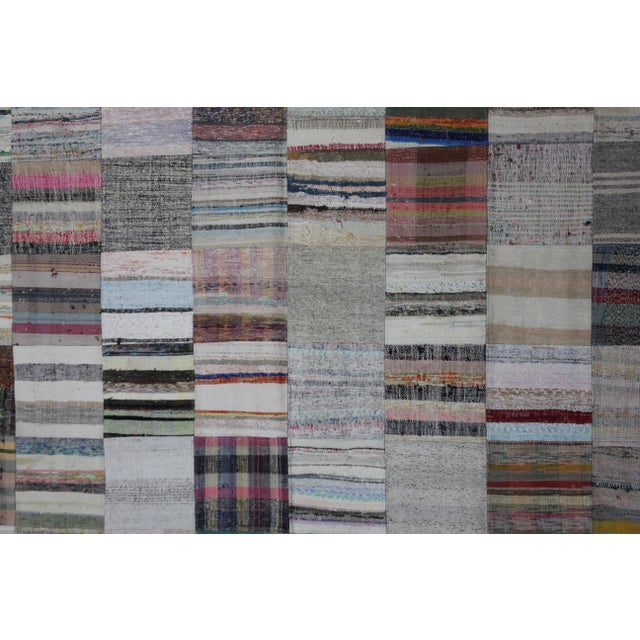 "Contemporary Aara Rugs Inc. Hand Knotted Patchwork Rug - 11'5"" X 8'1"" For Sale - Image 3 of 4"