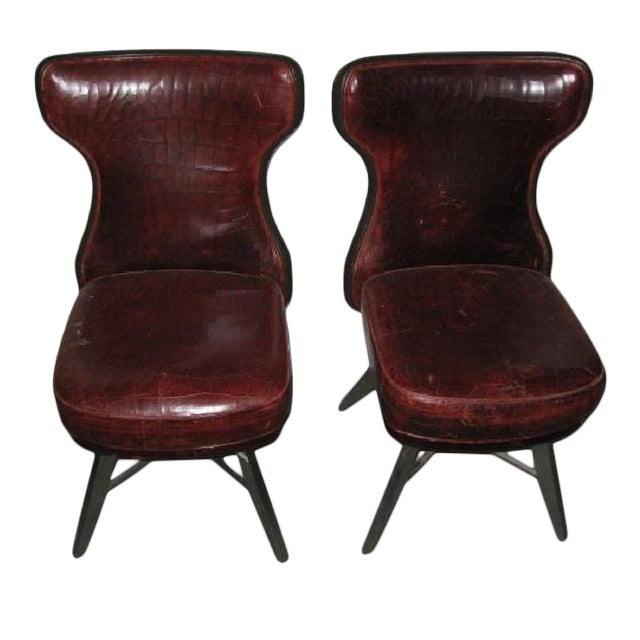 Mark David Designs Red Crocodile Embossed Leather Swivel Chairs - a Pair For Sale