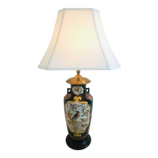 Late 20th Century Chinoiserie Hand Painted Wildwood Lamp For Sale