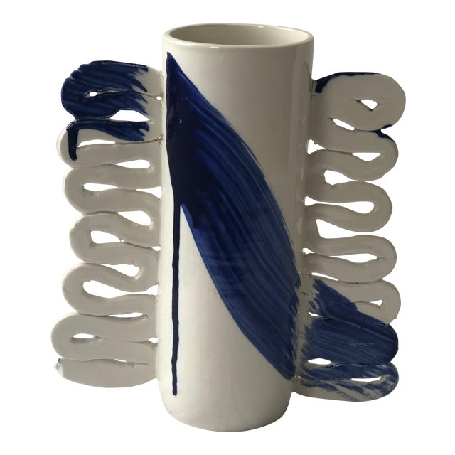 Contemporary Ceramic Squiggle Handle Vessel With Cobalt Calligraphy For Sale