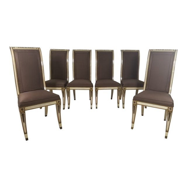 1940s Vintage Hollywood Regency Dining Chairs- 6 Pieces For Sale
