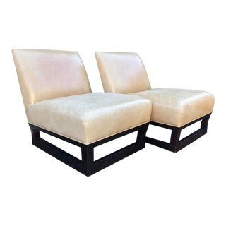 Pair of Donghia Open Villa Leather Swivel Slipper Chairs For Sale