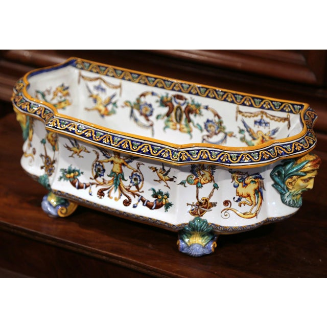 Ceramic Large 19th Century French Louis XV Hand-Painted Faience Jardinière Signed Gien For Sale - Image 7 of 11