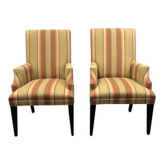 Contemporary Mitchell Gold + Bob Williams Striped Fabric Arm Chairs - a Pair