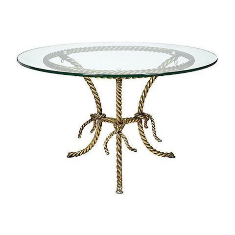 Hollywood Regency Gilt Rope and Glass Top Occasional Table - Image 4 of 4