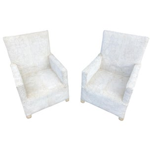 African Yoruba White Beaded Nobility Club Chairs, Pair Nigeria For Sale